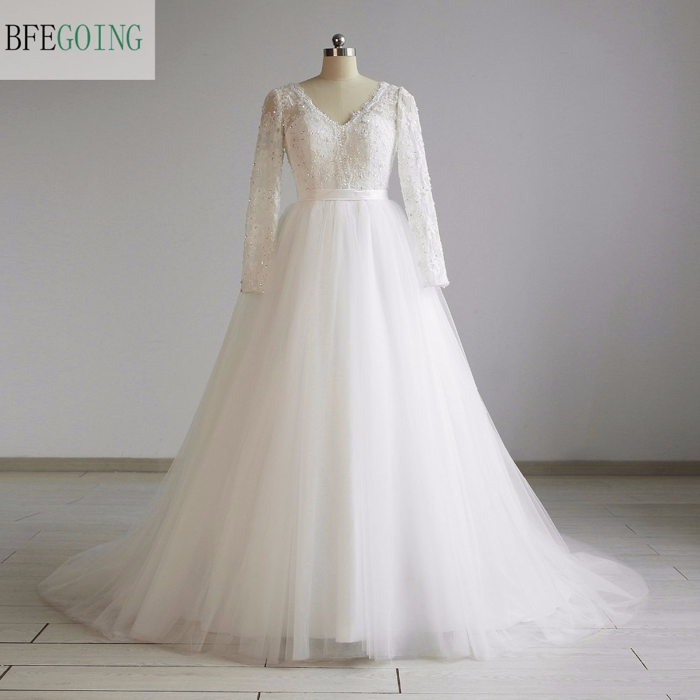 Ivory Tulle  Lace  A-line Wedding Dress Chapel Train Long Sleeves Beading Bow  Real/Original Photos Custom Made