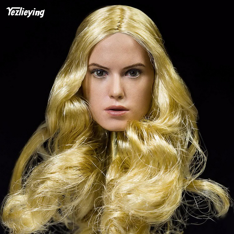 Custom 1/6 Scale Head Sculpt For Hot Toys Body Star Wars Rey Margherita Ridley Shaped Blond curls Hair for 12 Figure Doll Toys