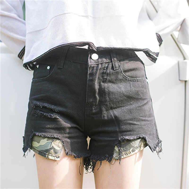 Spodenki dziewczęce seksowne letnie S-XL damskie jeansowe czarne zgrywanie luźne dżinsy wysokiej zwężone kamuflaż kieszeń elastyczne spodenki Hotpants