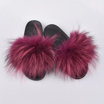 Comfy Flip Flops   Women Fur Slippers Luxury Real  Fur Beach Sandal Shoes Fluffy Comfy Furry Flip Flops