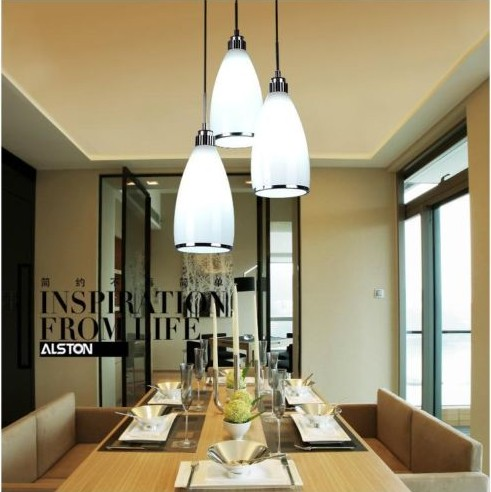 New Modern White Glass Shade Light Dinner Room Pendant Lamp Kitchen Bar Chandelier Bedro ...