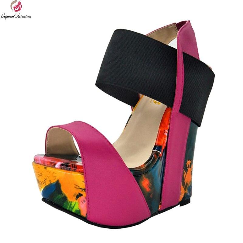 Best buy ) }}Original Intention New Gorgeous Women Sandals Platform Open Toe Wedges Sandals Nice Multi Colors Shoes