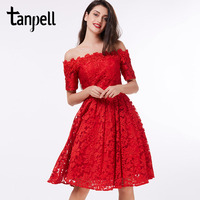 Tanpell off the shoulder cocktail dress red lace A line knee length short sleeves dress homecoming short cocktail party gown