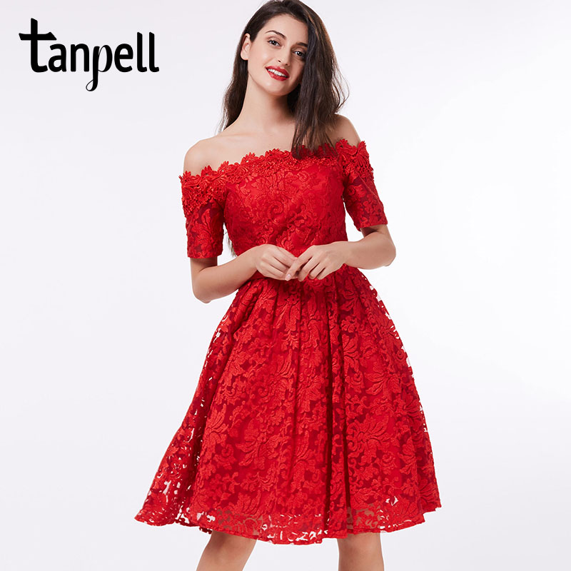 Tanpell off the shoulder   cocktail     dress   red lace A-line knee length short sleeves   dress   homecoming short   cocktail   party gown