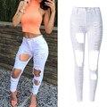 Agujeros Rasgados pantalones Vaqueros Flacos más el tamaño Atractivo de Las Mujeres Negro/blanco Elástico Largo Lápiz Pantalones Vaqueros Pantalones