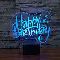 Creative 3D Happy Birthday Lamp Building Night Light 3D Building Light Acrylic Atmosphere Lamp As Gifts
