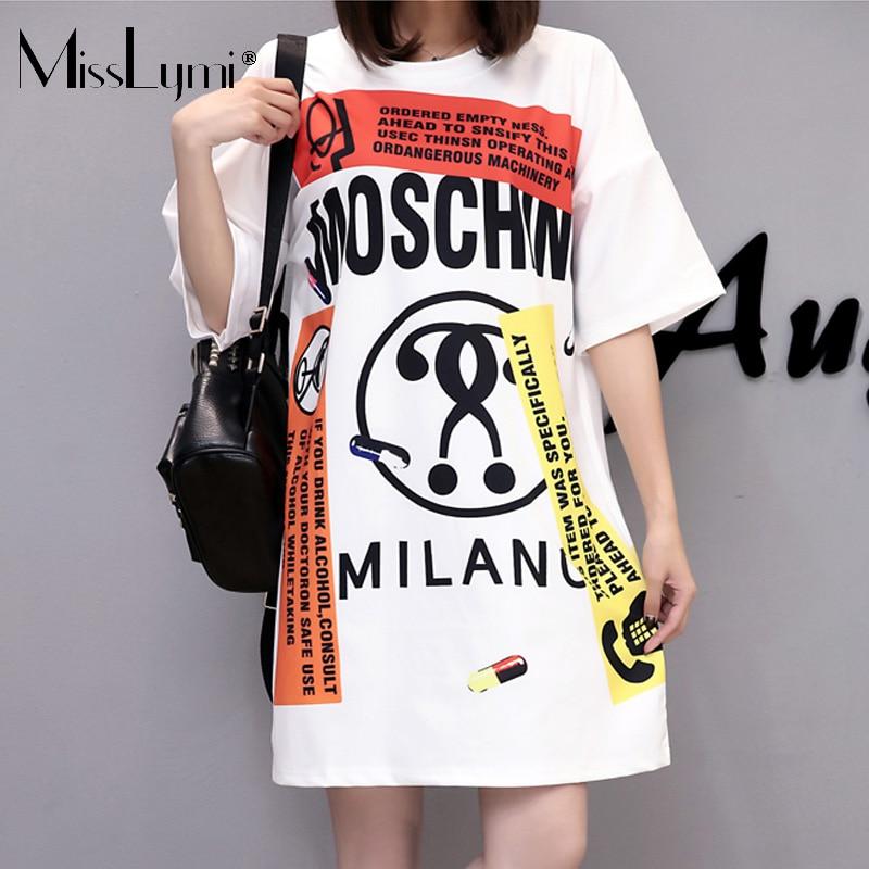 Misslymi xl-4xl tallas grandes mujeres camiseta dress 2017 de moda de verano har