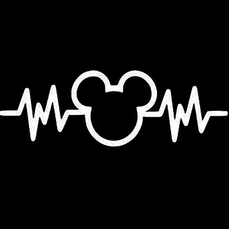Mickey Mouse Stickers Heartbeat Die Cut Car Decal Sticker Die-cut White Windows Decal Sticker 6''White