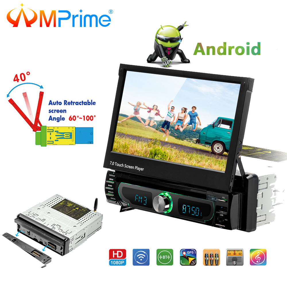 "AMPrime Car Android Radio Stereo 1 din 7"" Capacitive Touch MP5 Player 1Din 1024*600 For GPS Navigation BT Radio Stereo Audio"