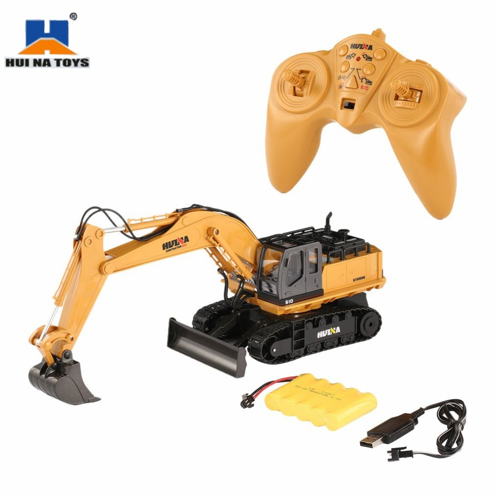 HUINA TOYS RC Alloy Excavator RTR 1510 1:16 2.4GHz 11CH Mechanical Sound / 680-degree Rotation / Movable Stick Boom Bucket hi