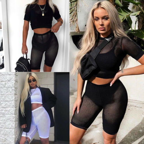 Sexy Mesh 2Pcs Women Short Sleeve Crop Top+High Waist Shorts See Through Mesh Jumpsuit Sheer Summer Lady Clothes Set