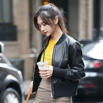 Fashion Women Autumn Winter Real Sheepskin Coat Female Short Slim Baseball Jackets Genuine Leather Jacket A155