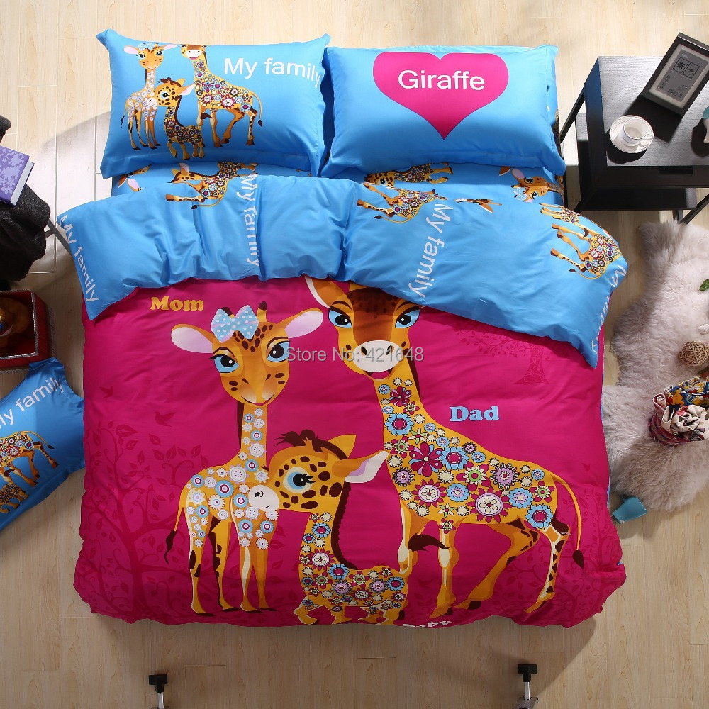 Favorite Hot!Free shipping new Listing cartoon duvet cover set owl/giraffe  QX83