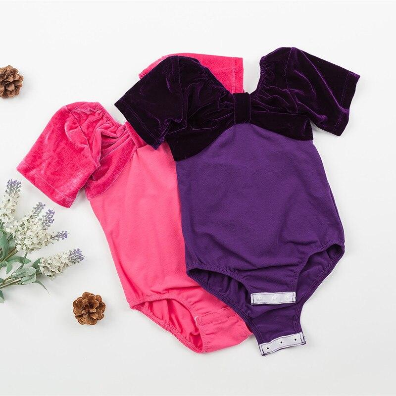 Short sleeved Cotton Spandex Gymnastics Leotard  for Girls Ballet Dancing Dress Kids Dance Wear dancewear children child costume