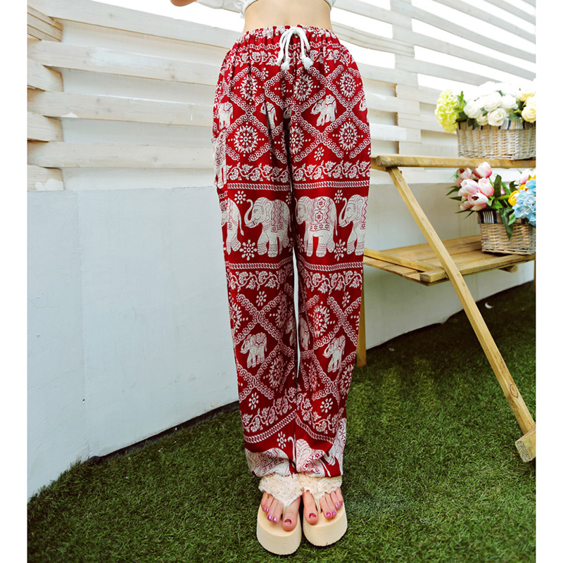 822b153e13 Bohemian Floral Elephant Print Pants for women 2017 Summer Beach Chiffon Trousers  Elastic Waist Drawstring Loose Bottoms femme | imarket online shopping