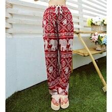 Bohemian Floral Elephant Print Pants for women 2017 Summer Beach Chiffon Trousers Elastic Waist Drawstring Loose Bottoms femme