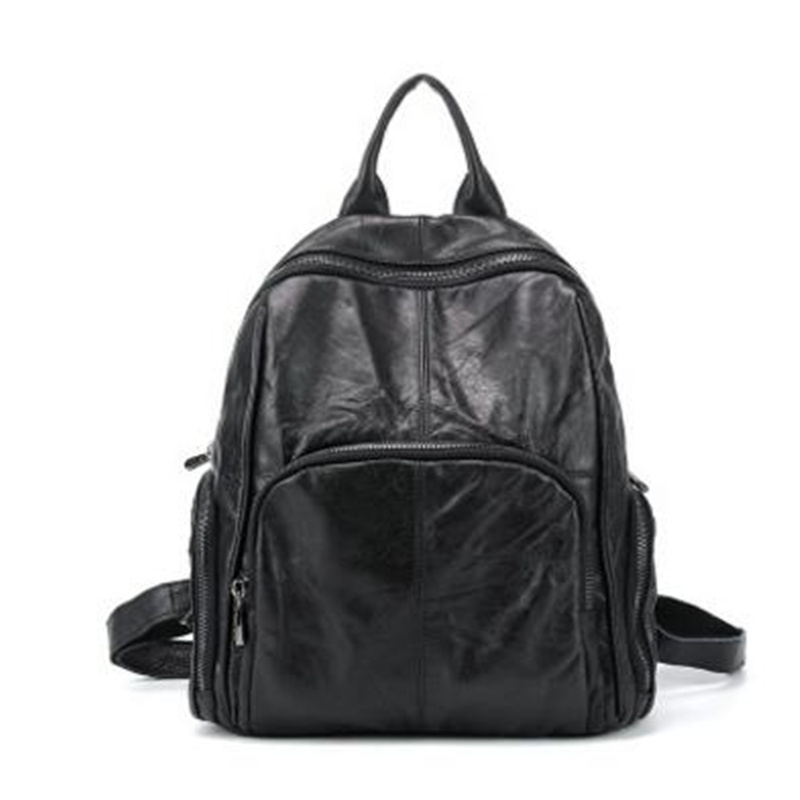 2017 New Style Genuine Leather Women Bags Punk Women Double Shoulder Bags Black Cow Leather Casual Travel Backpack 2017 new arrival leather backpack casual bags