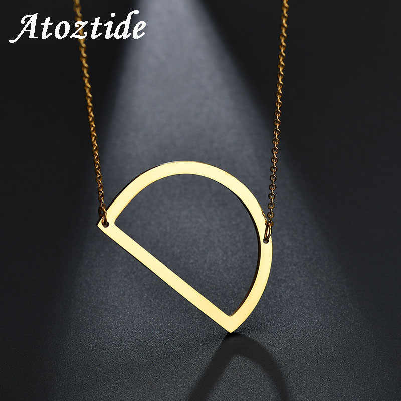 atoztide personalize women big d english capital letter necklace customize name stainless steel alphabet initial necklace