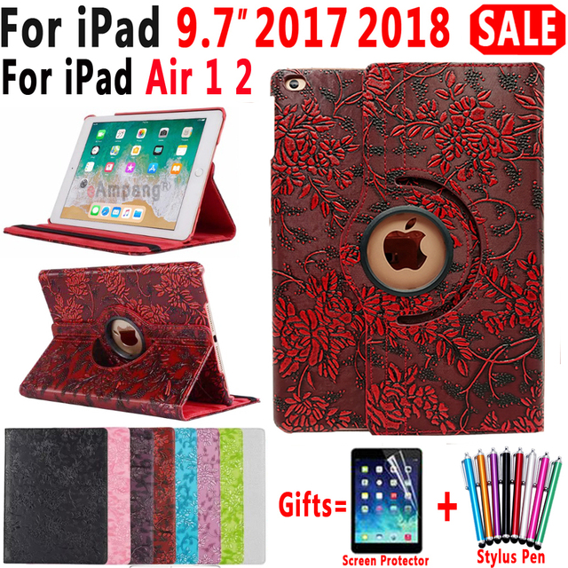 Case for iPad 9.7 2018 2017 5th 6th Generation Air 1 Air 2 Air2 360 Rotating 3D Flower Shockproof Girl Smart Cover for iPad 9.7