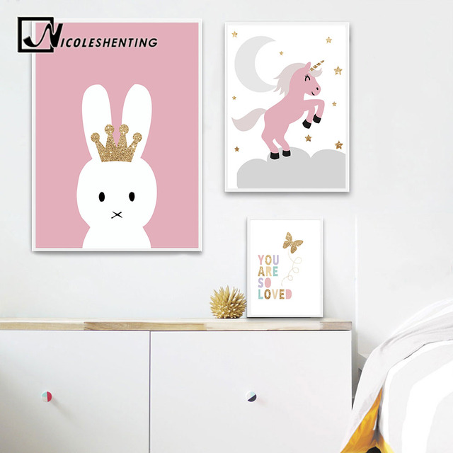 Rabbit Unicorn Wall Art Canvas Posters Nursery Prints Cartoon Painting Nordic Kids Decoration Pictures Baby