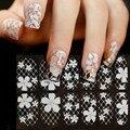1 unids Novia henna Flor pegatinas Blanco Lace 3d Nail Art Stickers Decoración de La Cubierta Completa Del Clavo Foils Wraps Clavo Adhesivo calcomanías