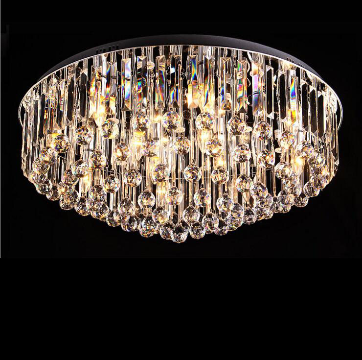 Crystal Ceiling Lamp Round Living Room Bedroom Crystal Ceiling Light Exit Grade K9 Crystal with Remote Control lighting fixture