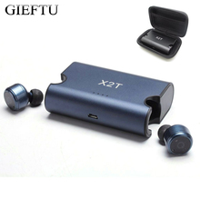 Gieftu True Беспроводной наушники близнецов X2T Bluetooth CSR4.2 стерео наушники с магнитной Зарядное устройство Коробка Чехол для мобильного телефона