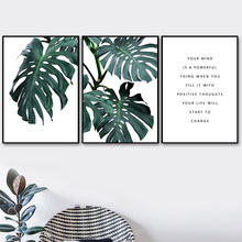 Fresh Monstera Leaves Quotes Wall Art Canvas Painting Nordic Posters And Prints Pop Pictures For Living Room Home Decor