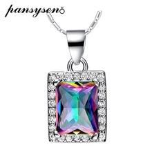 PANSYSEN Genuine Square Multicolor Rainbow Fire Mystic Topaz Pendant Necklace Pure 925 sterling Silver Brand Womens Neckalces
