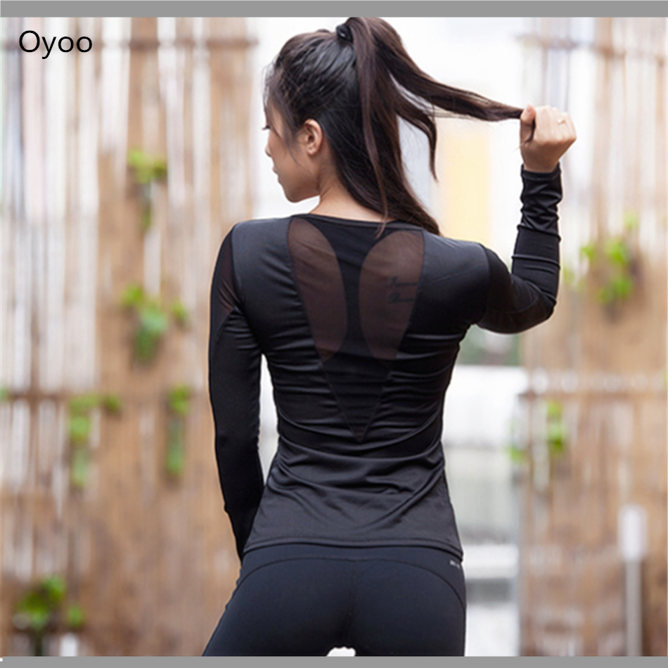 Oyoo Sexy Back Long Sleeve Solid Mesh Paneled Ballet Yoga -2899
