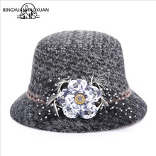 BINGYUANHAOXUAN Women Imitation Wool Dome Winter Hat For Floral Casual Brand Warm Lady Autumn Soft Floppy Girl Felt Tophat