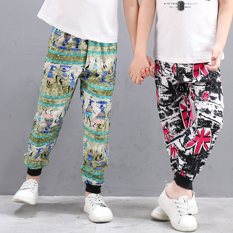 Summer Kids Harem Pants For Boys Beach Wear Floral Print Trousers Girls