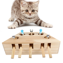 New Cat Toy Chase Mouse Solid Wooden Interactive Maze Pet Hit Hamster With Five Holes Hole Catch Bite Catnip Funny
