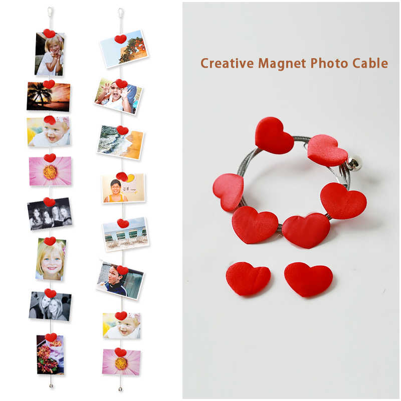 2pcs 1.5M High Quality Silver Magnetic Cable Photo Or Card Holder With 8 fabric Heart Image Magnet Photo Background