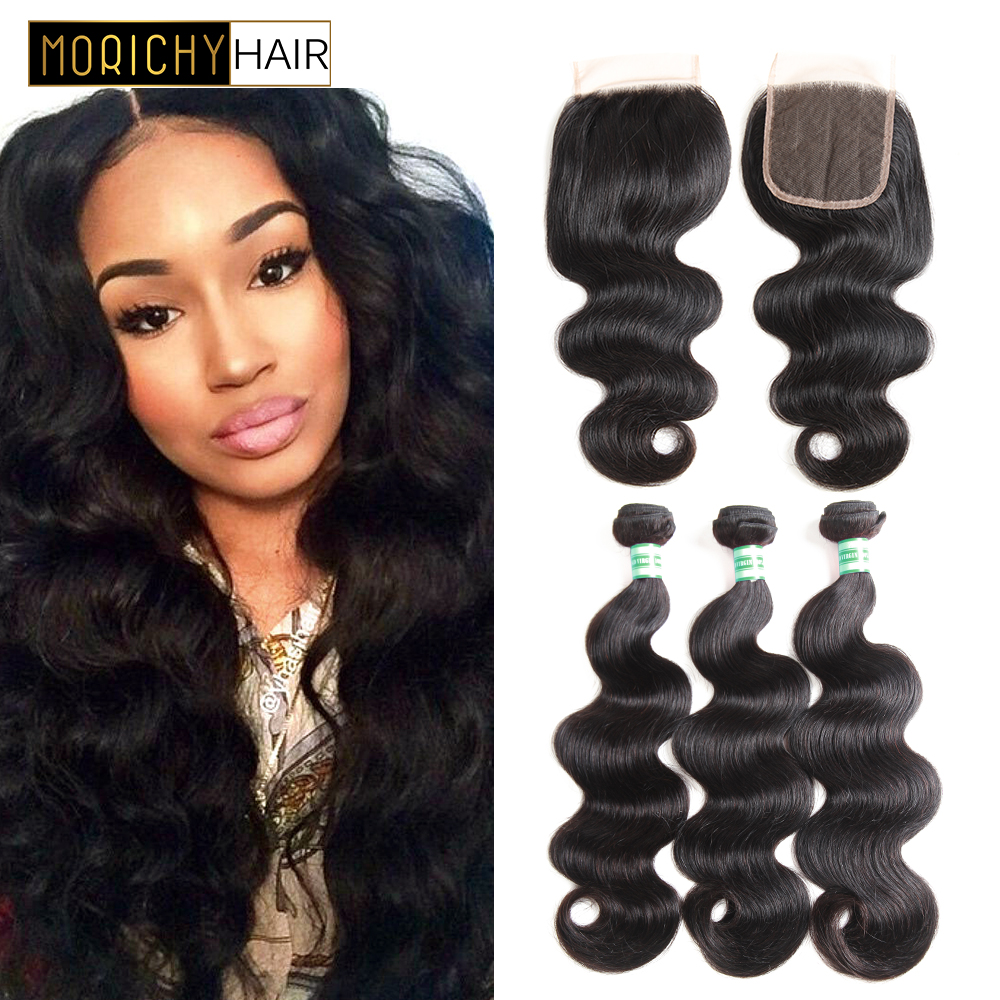 MORICHY Brazilian Body Wave Bundles With Closure Human Hair Lace Closure With 3 Bundles Body Wave Hair With Closure Non Remy