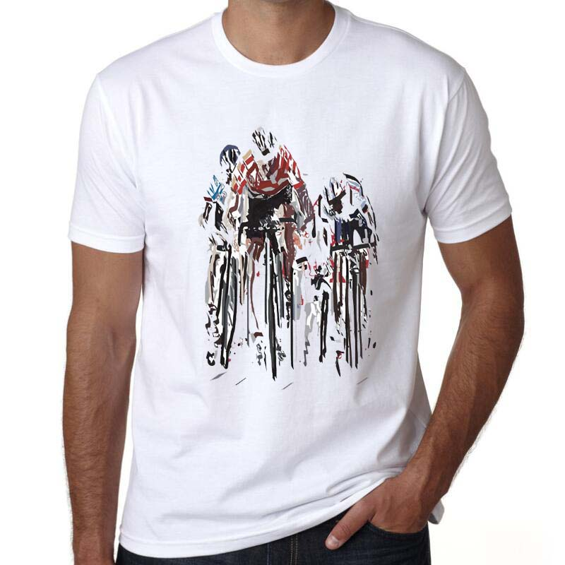 yiwuliming mens summer clothes 2016 bicycle design shirts prints bicycle funny biker t shirt white short sleeve t shirts