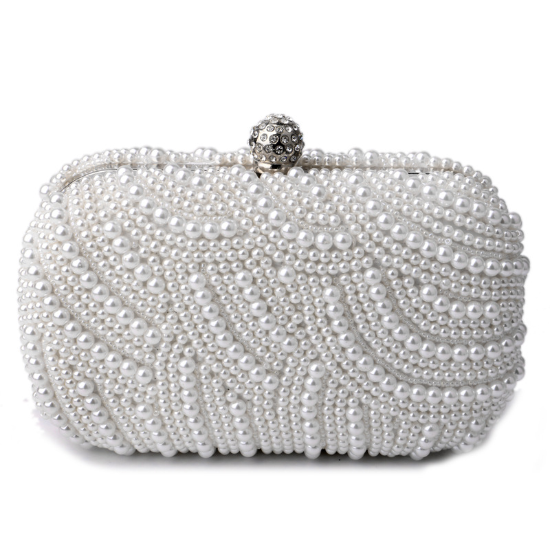 Women's Pearl Beaded Evening Clutch, Chic Handbags for Wedding and Party, Chain Bag