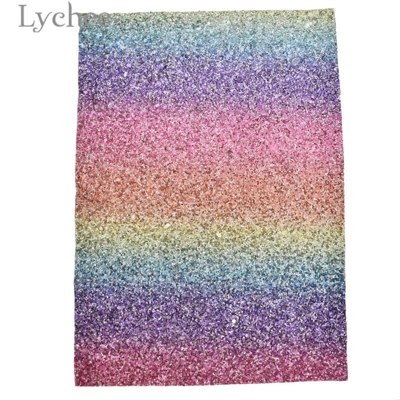 Lychee 29x21cm A4 Rainbow Color Glitter PU cuero tela de alta calidad cuero sintético Material DIY para bolsos prendas Tela de cuero sintético 22cm * 30cm telas de PU para hacer ropa hecha a mano DIY costura Matirials telas de PU tela de 3 colores