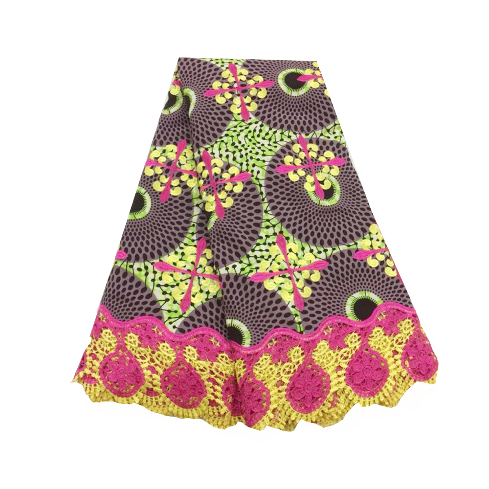 African Wax Fabric Ankara Printing Cotton With Embroidery Rhinestones Organic Cotton Fabric Pagne Super Wax For Dress