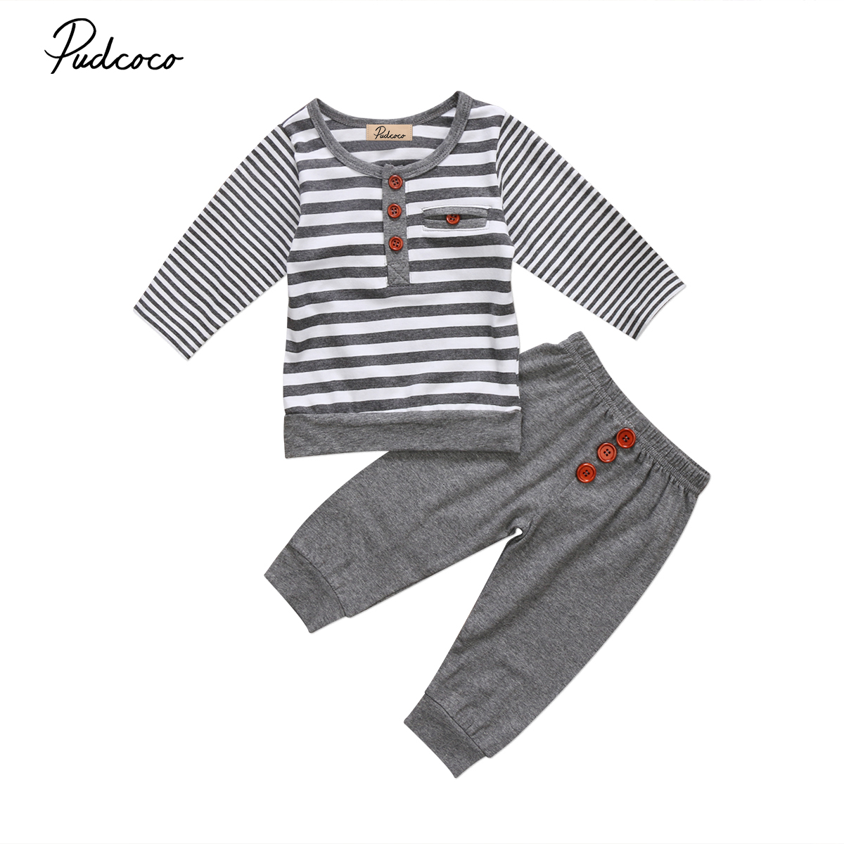 2017 Brand New Newborn Toddler Kids Baby Boy Girl Infant Cotton Clothes Long Sleeve Top T Shirt Pants Striped Outfit 2Pcs Sets toddler infant baby kids boy girl clothes sets t shirt pants spring summer outfit long sleeve cute minions cartoon sweat