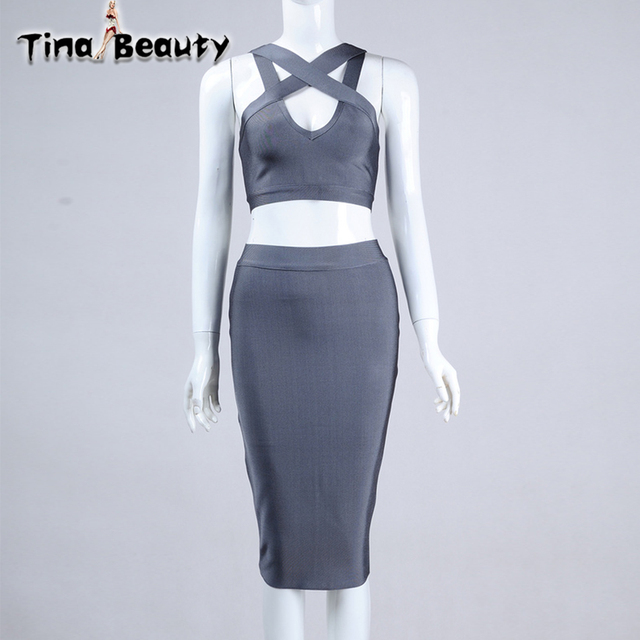 80b0ae3f2bec TinaBeauty 2Piece Set Women Hollow White Bandage Crop Top and Skirt 2018New  Classic Black Pink Gray Women Bodycon Suit for Party
