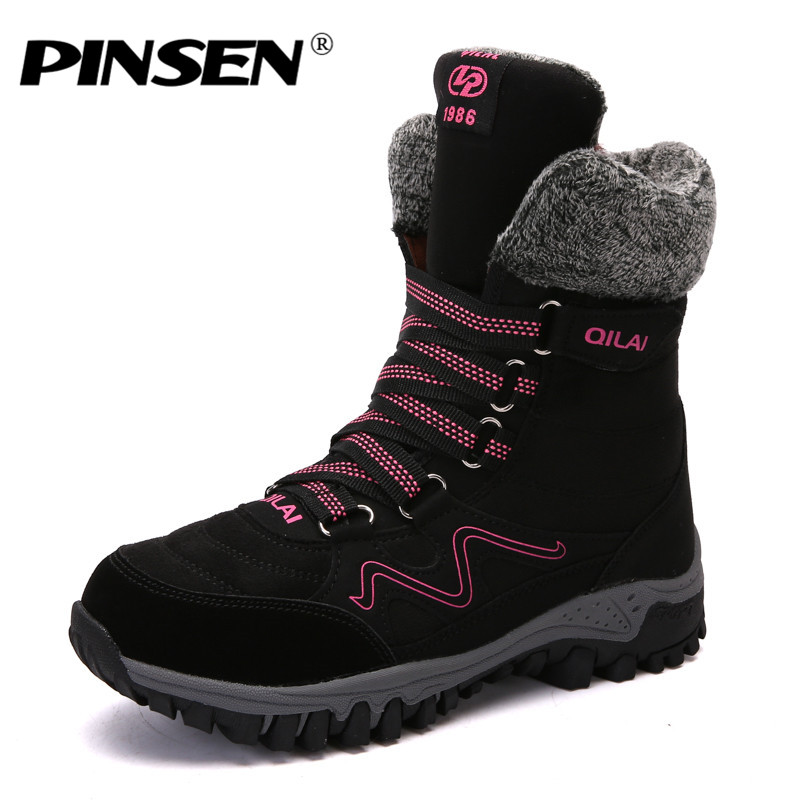 PINSEN 2018 Winter Women Snow Boots High Quality Mid-Calf Boots Women Lace-up Rubber Boots Black Warm Fur Plush Waterproof Boots beango fashions snow boots women s winter fur rubber genuine leather lace up flats round toe mid calf new comfort warm boots
