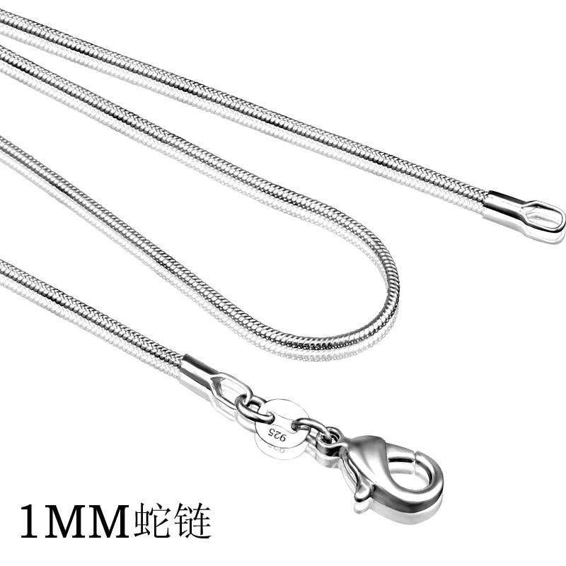 925 prata esterlina colar feminino, prata moda jóias cobra corrente 1mm colar 16 18 20 22 24