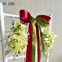 YO CHO kreative seidenblume valentinstag geschenk Schmetterling Orchidee Stuhl zurück handmade DIY hochzeit dekoration Schwestern Bouquet