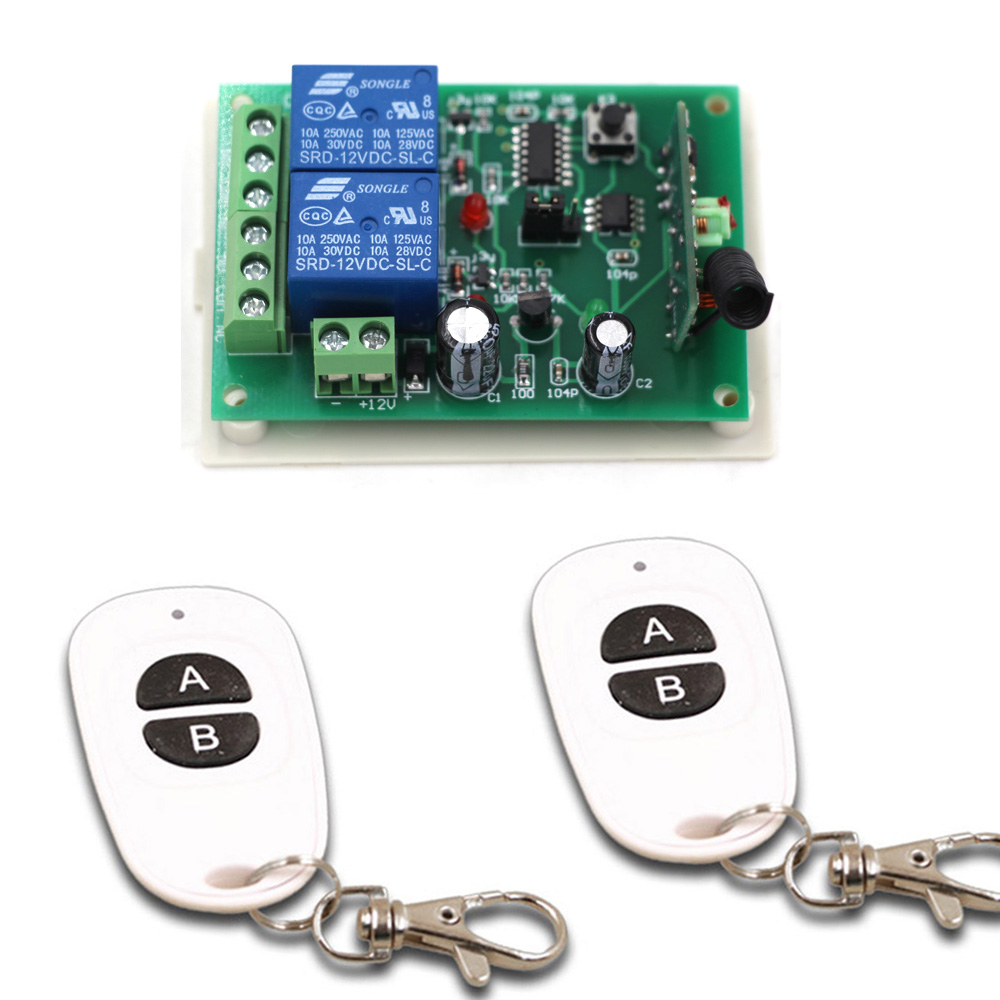 Última DC12V 24 V 10A 2CH RF Sistema de Interruptor de Control Remoto 2X transmi