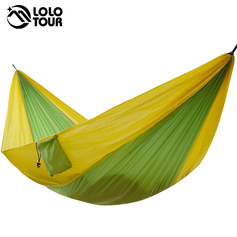 Double Outdoors Indoor Parachute Cloth Sleeping Hammock Strong - Perabot - Foto 6