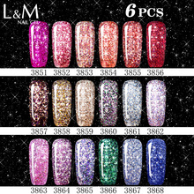 6 Pcs Platinum Bling Series Hot Sale Fast Free Shipping Gel Polish Pretty Colorful Asian Nail Supplier