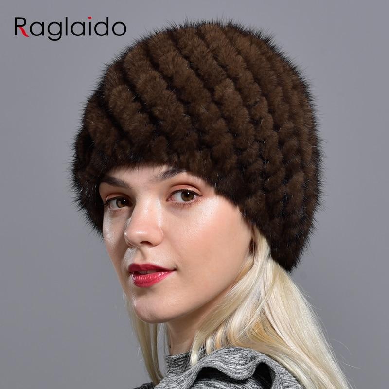 Raglaido Knitted Mink Fur Hats For Women Genuine Natural Fur Pineapple Cap Winter Snow Beanie Hats Russian Real Fur Hat LQ11191