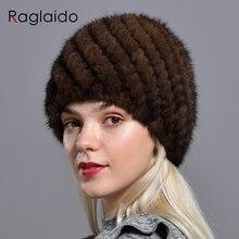 Raglaido tricoté vison fourrure chapeaux pour femmes véritable fourrure naturelle ananas casquette hiver neige Beanie chapeaux russe véritable fourrure chapeau LQ11191