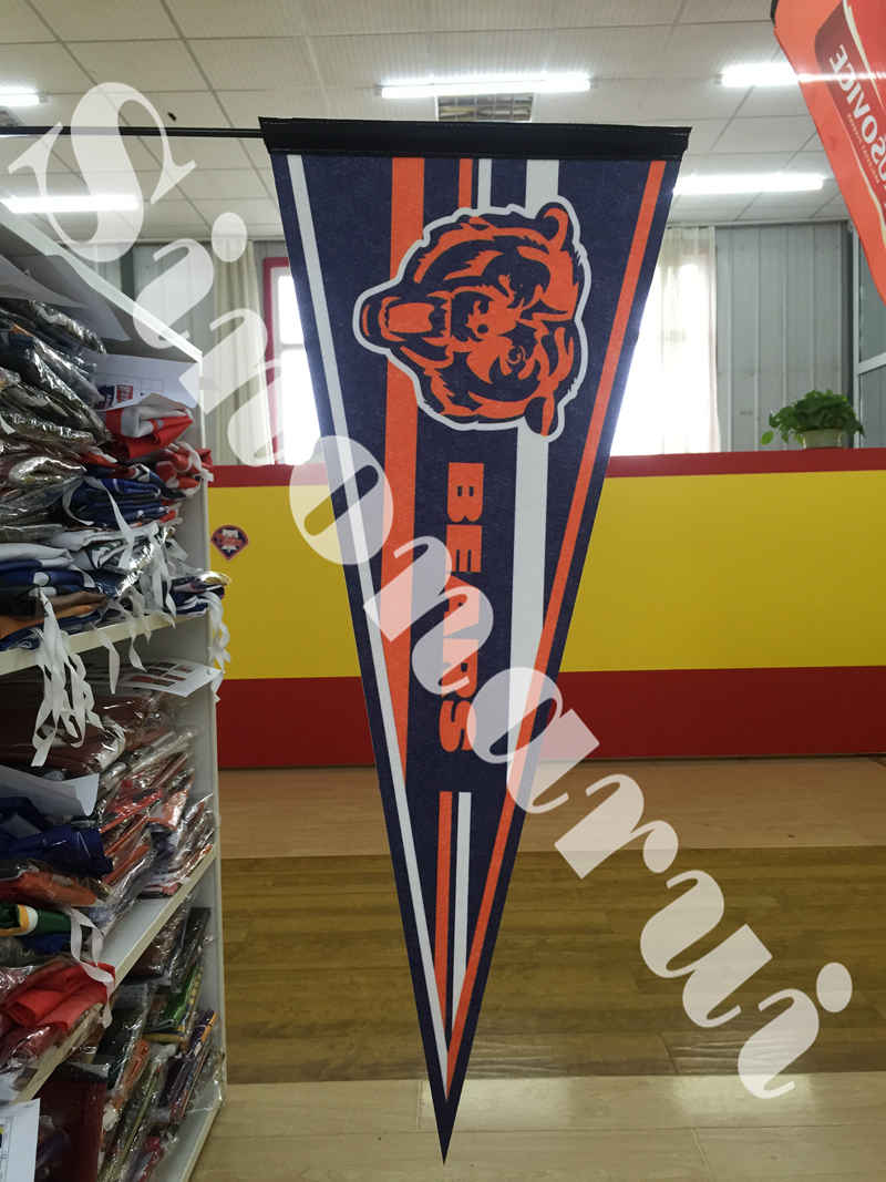 Chicago Bears Logo Stripe American Footbal Sports Team Hot Transfer Felt Customized Pennats 12x 30inches